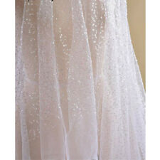 1 Yard Bridal 4mm Sequins Tulle Mesh Shiny Lace Fabric For Wedding Dress Clothes