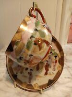 Vintage Japanese Stamped Hand Painted Porcelain Teacup and Saucer geisha Pattern