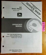 John Deere 261 Rotary Mower S/N 537,001- for 650 750 850 950 Tractor Oper Manual