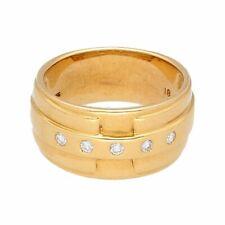 18Carat Yellow Gold 0.20ct Diamond Fancy Wedding Band (Size K 1/2) 9.5mm Wide