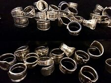 Wholesale Silver Sterling-Plated Spoon Rings Lot of 25 - Polished and Clean