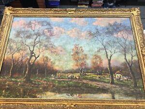 "ORIGINAL George H. Barker ""Rural life"" Oil on Canvas 22 x 18 Farm/Cows/stream"