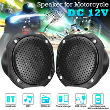 2x Motorcycle Motorbike ATV MP3 bluetooth Player Speaker Radio USB 12V Black