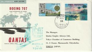 1961 Philippines cover First Jet Flight by Qantas from Manila to Tokyo