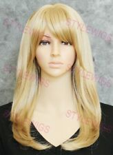 Medium Blonde Mix Long Straight Layers Heat Safe Synthetic Hair Wig STBR 99C