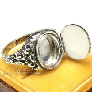 Art Déco Geheimfach Siegelring - Antiker Herren Ring mit Medaillon 830er Silber