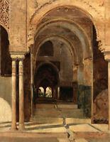 Oil painting theo van rysselberghe - L'Alhambra Arab building interior landscape