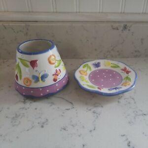 Yankee Candle Jar Shade Topper Plate Butterflies Flowers Purple Noelle Dahlen