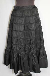 """RARE VINTAGE 1950'S BLACK TAFFETA TIERED DECORATED SKIRT  27""""  WAIST"""