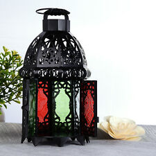 Moroccan Metal Octagonal Lantern Candle Holder Multicolor Glass Hanging Lamp