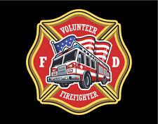 Firefighter Decals Vinyl Stickers Maltese Cross with Fire Truck