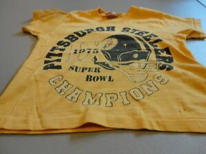 Vtg 1975 Super Bowl Champions Pittsburgh Steelers NFL T-shirt Child Size S 6-8