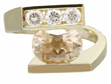 10k yellow gold oval morganite and round cut diamond ring semi tension 2.00ctw