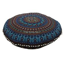 Indian Round Floor Pillow Cover Mandala Pom Pom Printed 32x32 Cotton Hassock