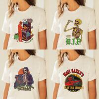 Ladies White Short Sleeve T shirt Devil Print Crew Neck Tee Summer Casual Top