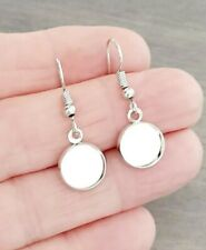 5 Pairs Dangling Earring cabochon blank setting 10mm bezel hooks Silver Plated
