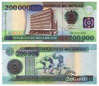 Banknote - 2003 Mozambique, 200000 Meticais, P141 UNC,Bank Building(F)Dancers(R)