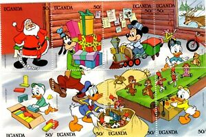 PUZZLE 8 TIMBRES NEUFS DISNEY STAMPS DISNEY OUGANDA SEE SCAN