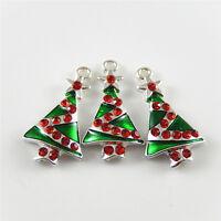 10pcs/lot Mixed Colors Enamel Christmas Tree Alloy Pendants Charms Finding 52423