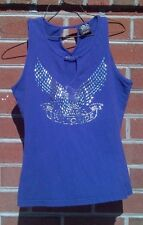 Sleeveless Live To Ride Women Biker Embellished Tank T Shirt Size Large L