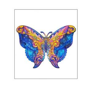 Wooden Cartoon Butterfly Adult Kids Toy Home Decor Puzzle Jigsaw Pieces Animal
