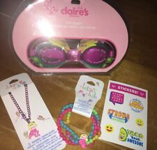 Claire's Mermaid Goggles Necklace Bracelet Jewlery Set Justice Stickers Lot