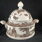 Vintage Villeroy & Boch Anjou Porcelain Tureen Hunt Scene Fox Dog Trees Germany