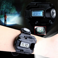 Waterproof Tactical LED Display Rechargeable Wrist Watch Flashlight Torch