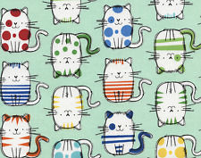 Timeless Treasures Cute Cat Sketches on Mint 100% cotton Fabric by the yard