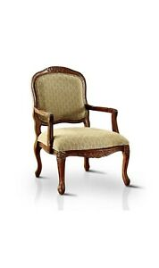 Bailee Modern Striped Beige Fabric Antique Oak Accent Chair w/ Carved Highlights