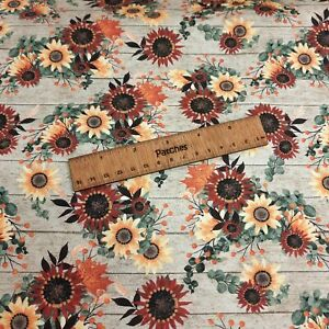 Christmas - Happy Fall - Flowers 100% Cotton Fabric Craft Cushion Bunting