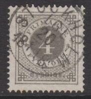 Sweden - 1879, 4 ore Grey stamp - Perf 13 - F/U - SG 17a