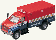 HO Scale 2003 GMC Topkick Ambulance (Red, White & Blue) - Boley #3015-92