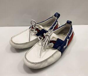 Men's Gucci Loafers Moccasin Driver Shoes Web Stripe Sz 8,5 Us