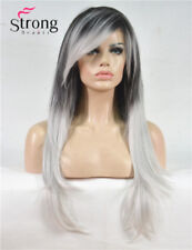 Long Straight Black and Silvery Grey Ombre Side Swept Bangs Synthetic Women Wig