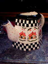 ADORABLE HANDMADE HAND PAINTED Pitcher VASE WALL POCKET Planter B & W CHECKERED