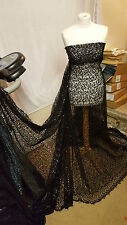 "1.5M BLACK SPIDER WEB SEQUIN NET BRIDLE DRESS FABRIC 55""WIDE"