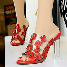 Women Slippers Mules Flower Chunky High Heel Summer Dress Slides Sandals Shoes