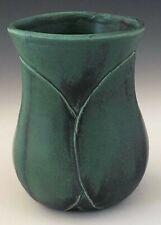 "Lynn T.Studio Art Pottery 4 3/8"" Bronze Green Hand Carved Leaf Drink Glass Vase"
