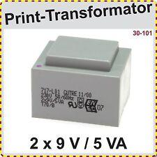 Print Trafo EI 42/14,8  5VA  primär 230 V   sekundär 2x9 V, Printtrafo