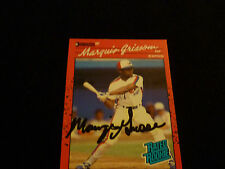 MARQUIS GRISSOM 1990 DONRUSS SIGNED AUTOGRAPHED CARD #36 EXPOS RATED ROOKIE