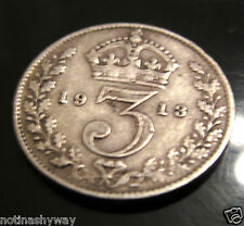 SOLID SILVER Threepence 1913 Coin U English British C London Manchester Leeds UK