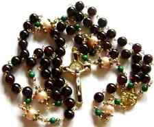 Pink Gold Pearl beads Garnet St.Benedict stations of the cross rosary necklace