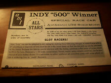 AMT  ALL STARS-INDY 500 WINNER- INSTRUCTIONS ONLY -  FOR MODEL KIT
