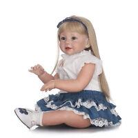 "Reborn Toddler Silicone Girl Blonde Hair 29"" Children's Wear Model Doll Nice #"