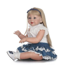 "Reborn Toddler Silicone Girl Blonde Hair 29"" Children's Wear Model Doll Nice New"