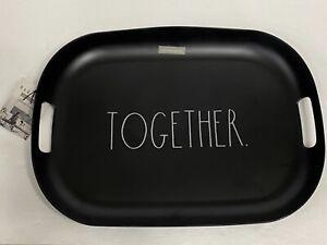 "Rae Dunn LARGE BLACK Melamine ""TOGETHER"" Serving Tray Platter 19x14 w/Handles"