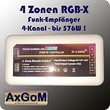 4 Zonen RGBW / RGBX Funk-Empfänger - 4x6A max 576W je Zone - 12V+24V LED