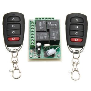433MHz 12V 4CH Channel Relay RF Wireless Remote Control Switch Receiver  j C