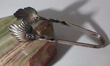 "Sterling Silver Rare Raimond Silver Mfg Co. Ornate Floral Leaf Sugar Tongs 3.5"""